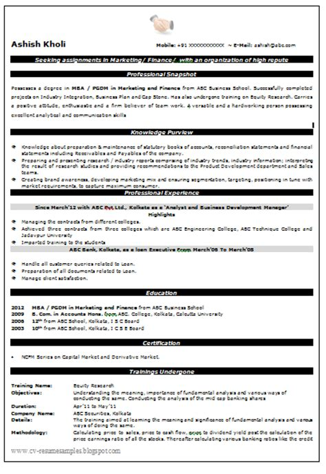 mba finance resume samples for freshers unforgettable accountant