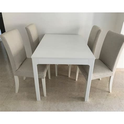 extendable ikea table  chairs whitebeige dining set
