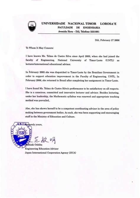 Reference Letter Visa Application Sle Recommendation Letter 2