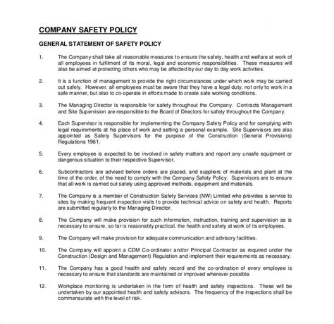 26 Policy Template Sles Free Pdf Word Format Download Free Premium Templates Construction Safety Policy Template