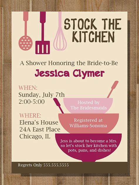 kitchen invitation cards templates kitchen bridal shower invitations kitchen bridal shower