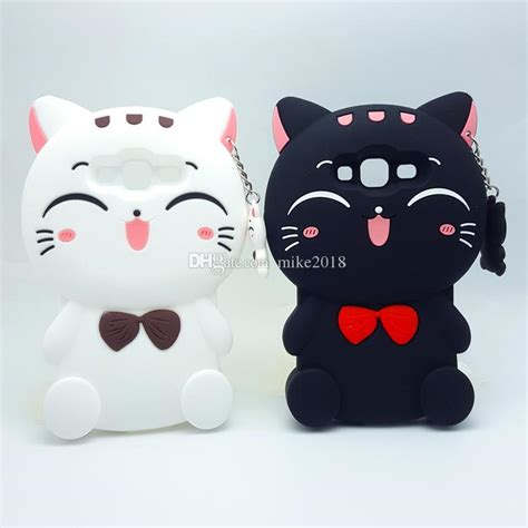 Samsung J5 Prime 3d Bowknot Lucky Cat Silicone Reo S 2017 3d kawaii bow tie cat soft silicone cover for samsung galaxy j1 j1ace j3 j5 j7