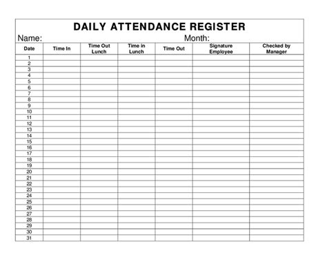 daily attendance record template daily attendance register hashdoc