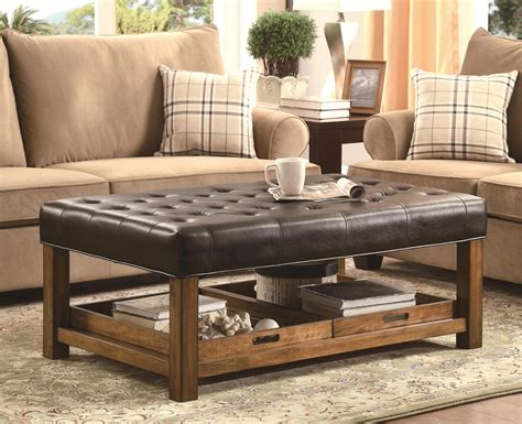 Wood And Leather Chair With Ottoman Design Ideas Decor Living Room Design With Leather Ottoman Coffee Table And Sectional Sofa Also Side Table