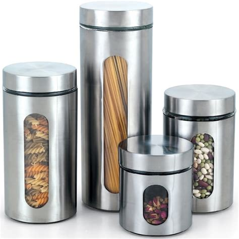 4 piece stainless steel kitchen storage canister set flour cook n home 4 piece glass canister with stainless window