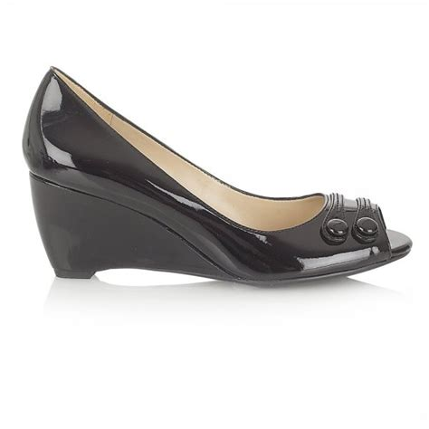 brylie black patent button detail wedge peep toe shoe