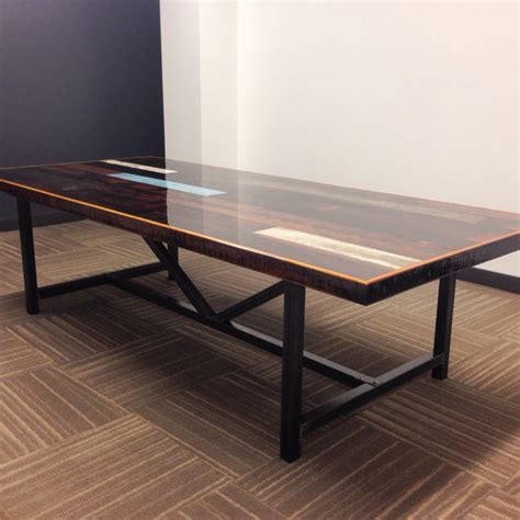 Industrial Boardroom Table Industrial Reclaimed Wood Conference Table Resin Finish
