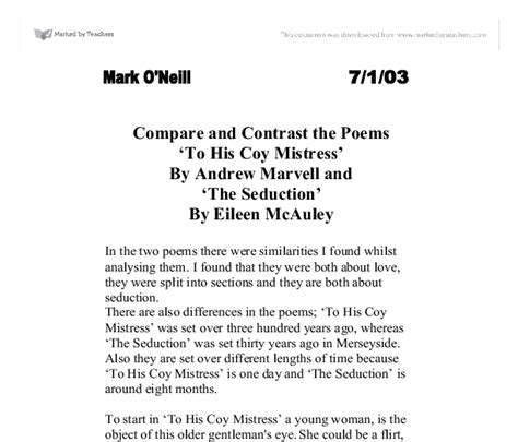 Compare And Contrast Poetry Essay by Compare And Contrast The Poems To His Coy By Andrew Marvell And The By
