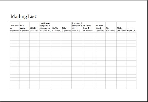 excel address list template excel mailing list fully customizable template excel