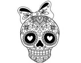 mexican skull with bow coloring page coloringcrew com