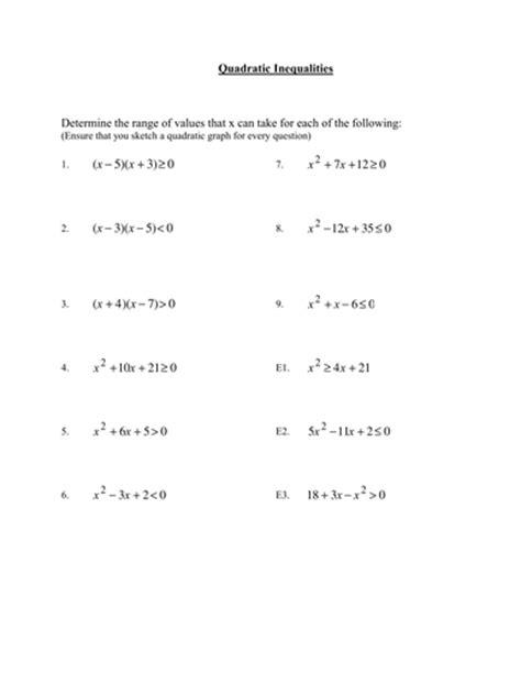 Quadratic Inequalities Worksheet by Gcse Maths Worksheet On Quadratic Inequalities By Phildb