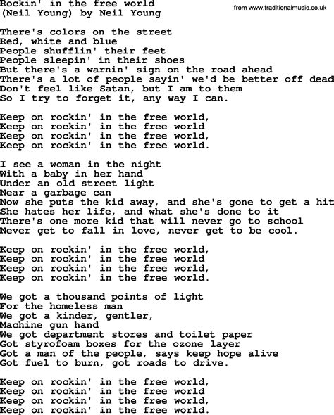 The Free Bruce Springsteen Song Rockin In The Free World Lyrics