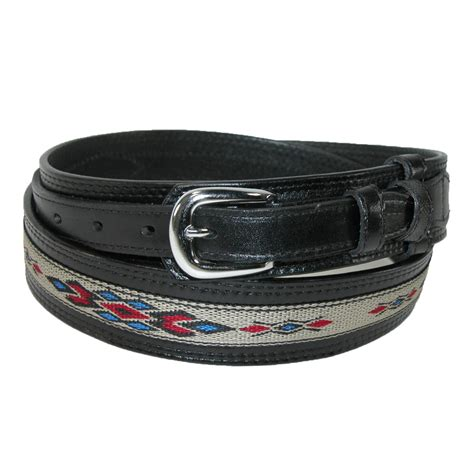 mens leather removable buckle ranger belt with fabric
