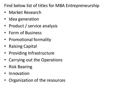 Mba Entrepreneurship by Project Report Titles For Mba In Entrepreneurship