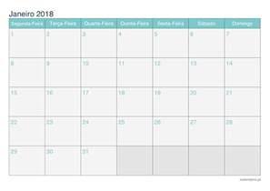 Calendario Janeiro 2018 Calend 225 Janeiro 2018 Para Imprimir Icalend 225 Pt