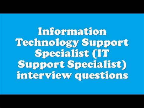 Information Technology Specialist by Information Technology Support Specialist It Support Specialist Questions