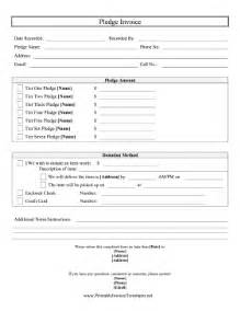 Pledge Form Template Word by Pledge Invoice Template