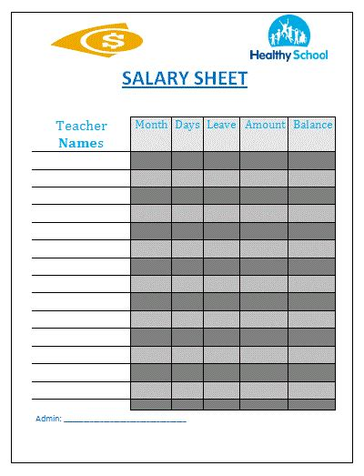 salary sheet template free sheet templates