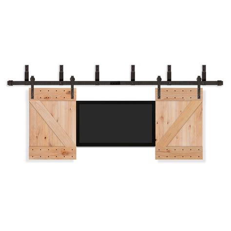 Pacific Entries 36 In X 42 In Tv Unfinished Knotty Alder Rubbed Bronze Barn Door Hardware
