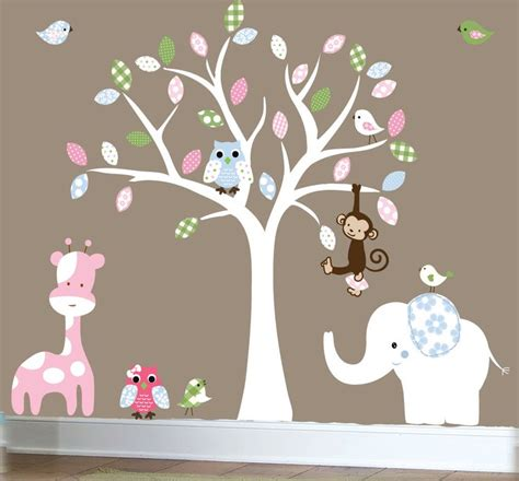 Tree Wall Decals For Nursery Etsy Jungle Wall Decal Nursery White Tree Wall Decal Patterned Elephant 0286
