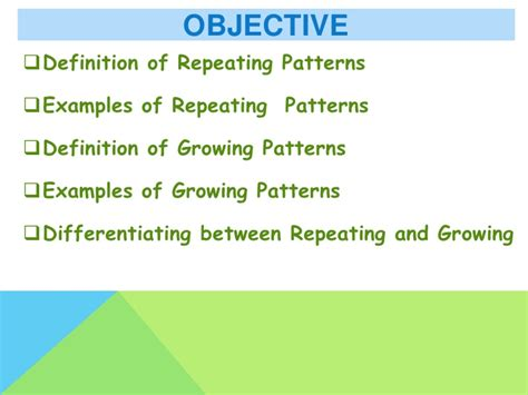 pattern of three definition repeating and growing patterns