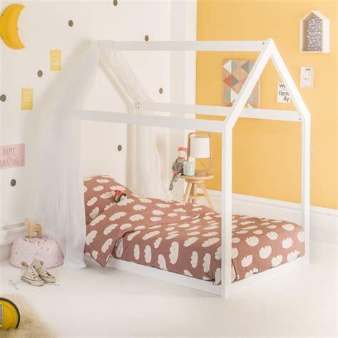 lit blanc lit montessori cabane extensible 90x140 coloris blanc