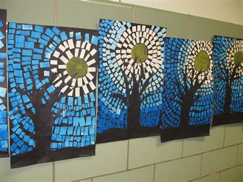 How To Make Paper Mosaic - painted paper mosaics winter tree silhouettes grade 3