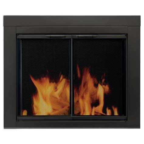 Replacement Tempered Glass For Fireplace Doors Shop Pleasant Hearth Alpine Black Small Cabinet Style Fireplace Doors With Clear Tempered Glass