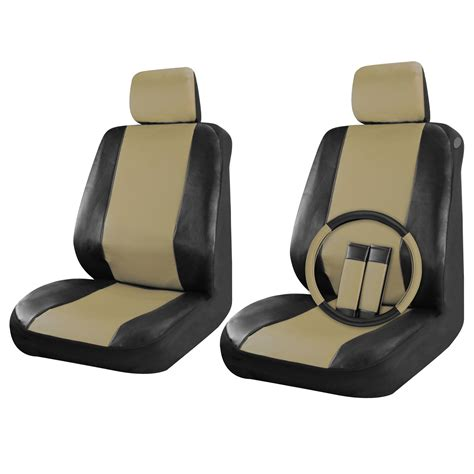 leather car seats faux leather car seat covers black beige 9pc front