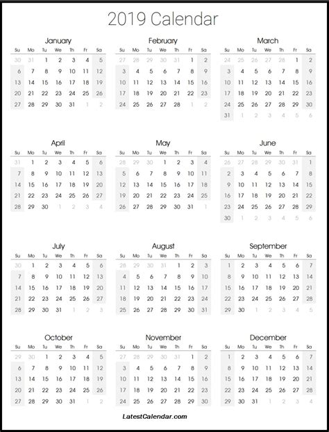 2019 Printable Calendar Latest Calendar Free Calendar Template 2019