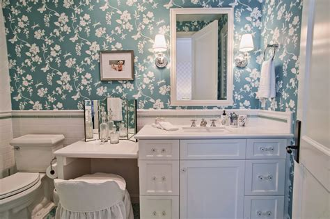 Bathroom vanity with makeup table bathroom traditional with blue floral wallpaper green
