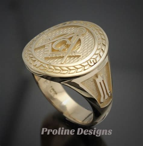 masonic moral compass ring in gold handmade style 032g