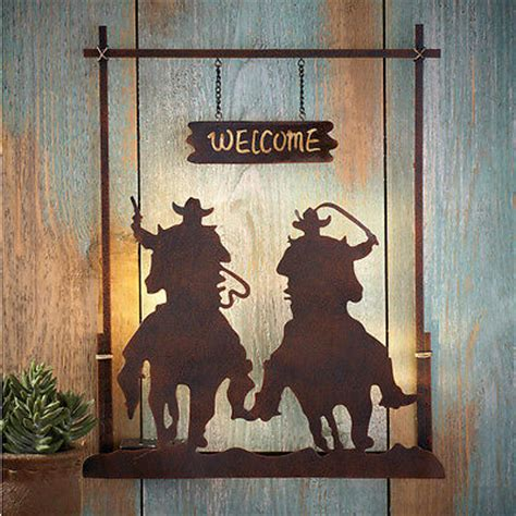 country western home decor lighted wall lighted rusted tin metal single pistol wall sign western gun snowman led