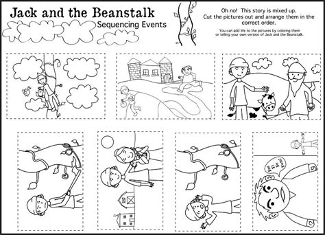 kindergarten activities jack and the beanstalk jack and the beanstalk story sequencing