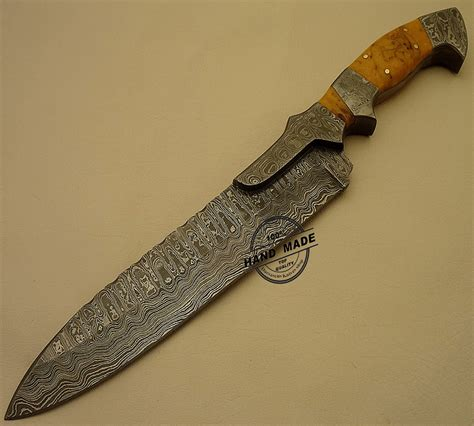 Best Professional Kitchen Knives by Damascus Bowie Knife Custom Handmade Damascus Steel Amazing