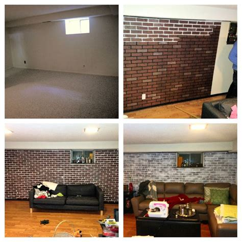 diy white wash brick wall i did in my basement
