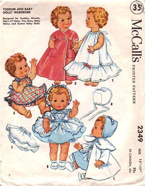 gails vintage doll patterns 1950s mccalls 2349 vintage sewing pattern 8 9 inch doll