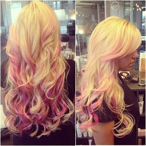 blondehairstyles with redpink in blonde balayage with pink
