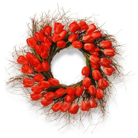 target wreaths home decor artificial tulip wreath red 24 quot national tree company