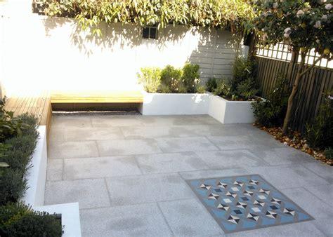 modern garden bench designs modern garden design london granite paving raised rendered beds hardwood bench mosaic
