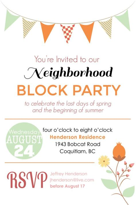 Items Similar To Summer Block Party Backyard Bbq Invitation Digital File Printable Block Flyer Template Summer