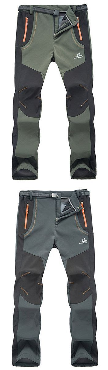 mens outdoor sport pants elastic waist soft shell warm fleece lining waterproof quick dry
