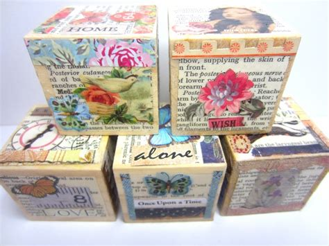 decoupage crafts how to decoupage a collage onto blocks