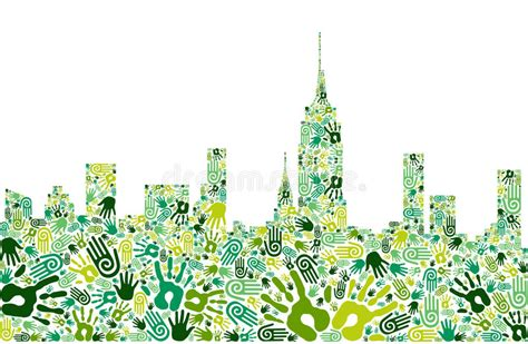 go green city background stock vector image of media go green hands city skyline background stock vector