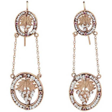Gold Pearl Chandelier Earrings Pearl Gold Chandelier Earrings At 1stdibs