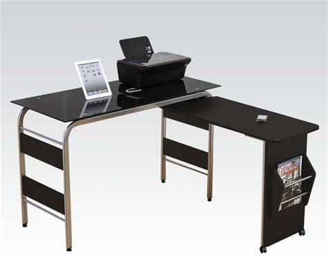Garion Black Computer Desk With Pull Out Desk By Acme 92058 Pull Out Desk