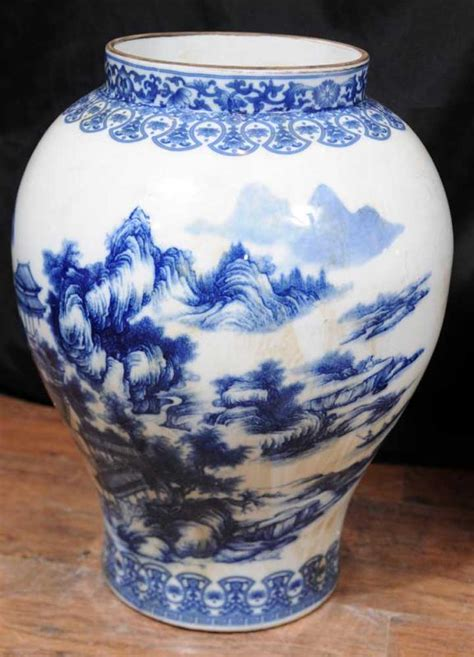 Ginger Jar Vase by Pair Blue White Chinese Pottery Ginger Jar Urns Vases Nanking