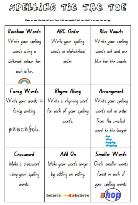 tic tac toe homework template teach homework spelling tic tac toe