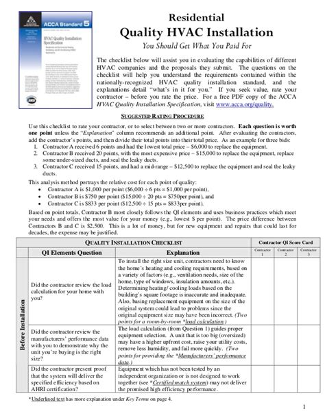 hvac installation contract template residential hvac installation check list by andrew s