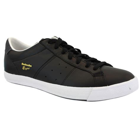 Po Onitsuka Tiger Lawnship Leather onitsuka tiger lawnship le d308l 9016 mens laced leather trainers black charcoal